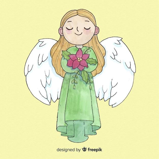 Linda aquarela natal anjo garota fundo Vetor grátis