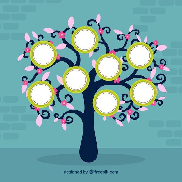 Linda árvore plana com molduras Vetor grátis