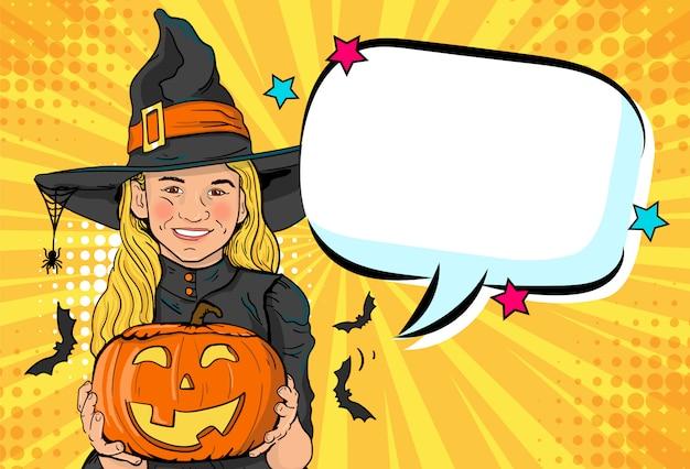 Linda bruxinha. anuncie a festa de halloween para crianças. Vetor Premium