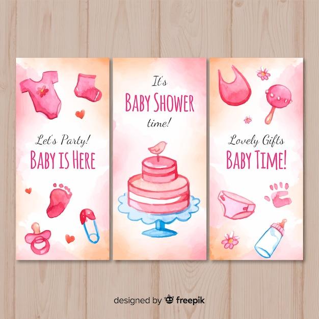 Linda coleção de cartão de chuveiro de bebê em aquarela Vetor grátis