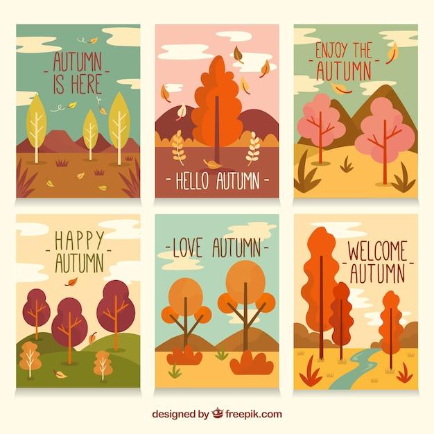 Linda coleção de cartões de outono com design plano Vetor grátis