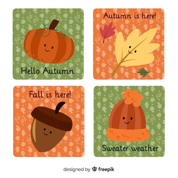 Linda coleção de cartões de outono Vetor grátis