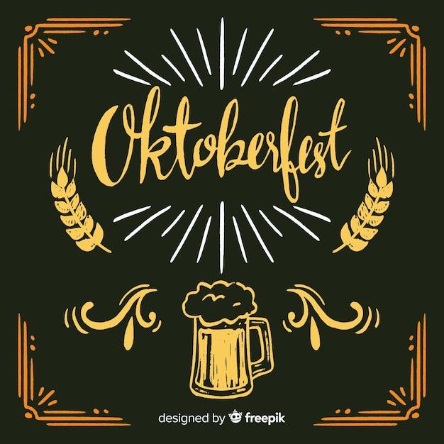 Linda composição de oktoberfest com estilo de quadro-negro Vetor grátis