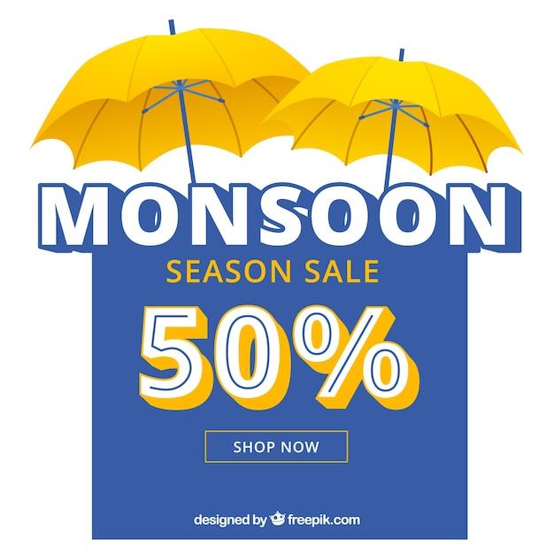 Linda composição de venda temporada de monções Vetor grátis