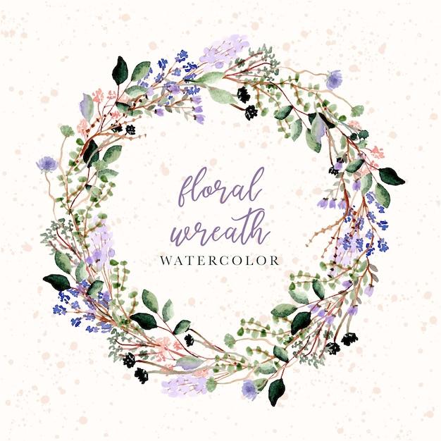 Linda coroa de flores em aquarela floral e ramos Vetor Premium