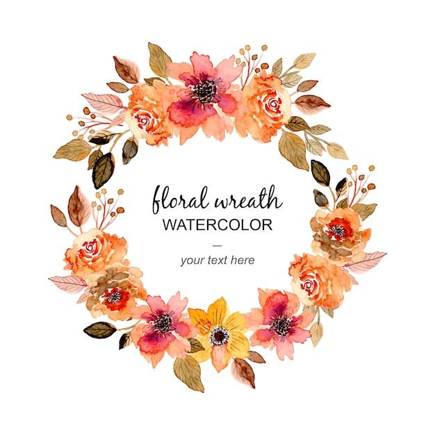Linda coroa de flores em aquarela floral Vetor Premium