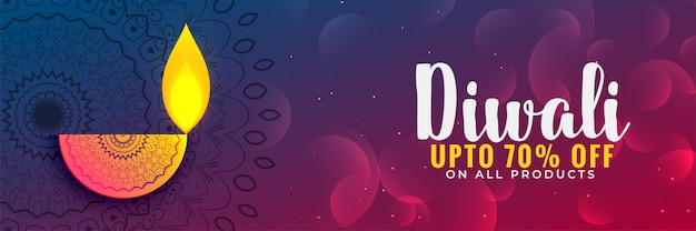 Linda diwali festival disount banner ou design de cupom Vetor grátis