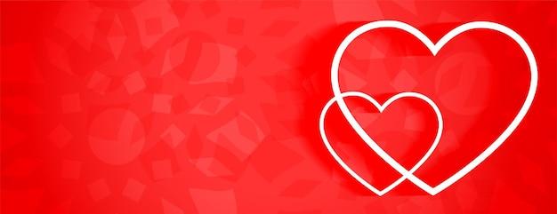 Linda faixa vermelha com dois corações de linha branca Vetor grátis