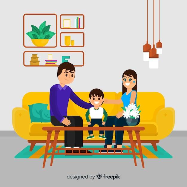 Linda família em casa com design plano Vetor grátis