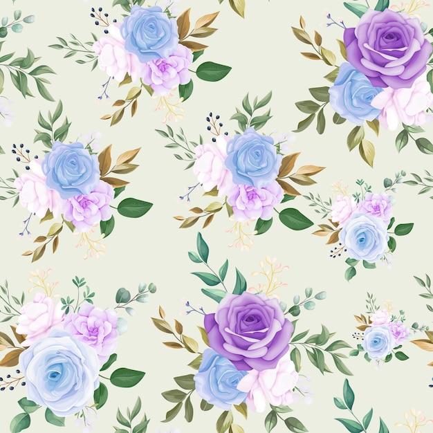 Linda flor azul sem costura padrão e folhas verdes Vetor grátis