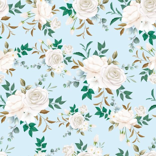 Linda flor branca sem costura padrão Vetor grátis