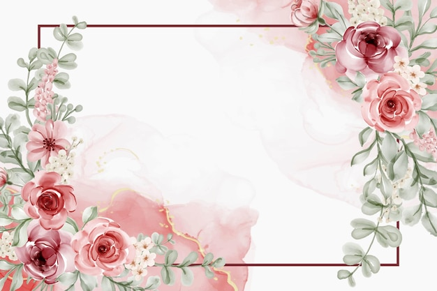 Linda flor desabrochando com folhas rosa Vetor grátis