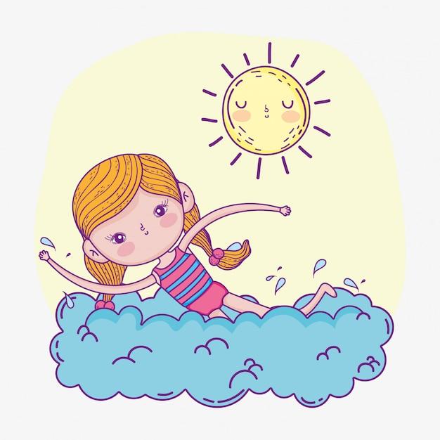 Linda garota brincar e nadar com o sol Vetor Premium