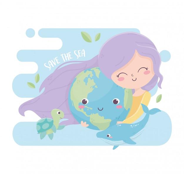 Linda garota com ecologia mundial de ambiente de mar de baleia Vetor Premium