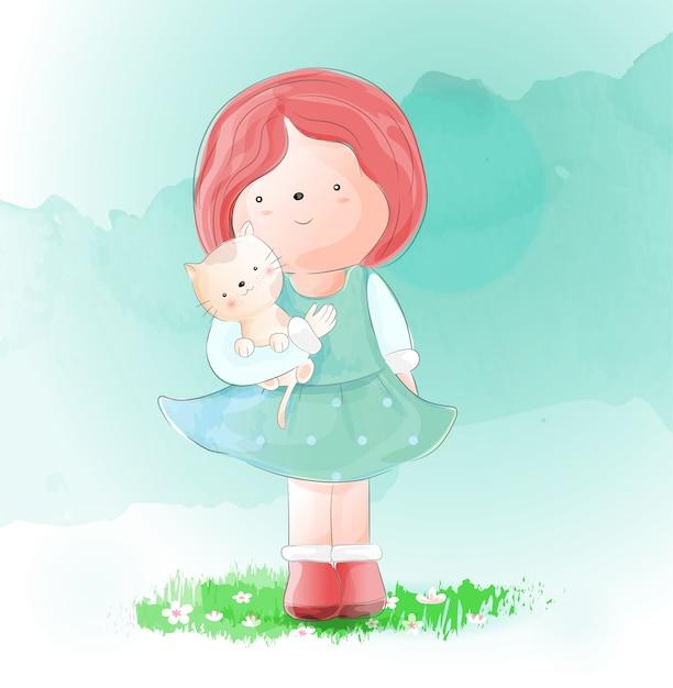 Linda garota com estilo aquarela de gato Vetor Premium