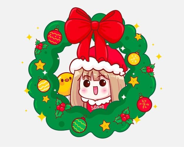 Linda garota com fantasia de papai noel e a ilustração da coroa de natal Vetor Premium
