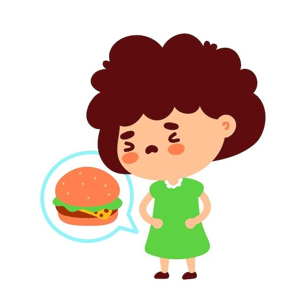 Linda garota com fome pensando em hambúrguer Vetor Premium