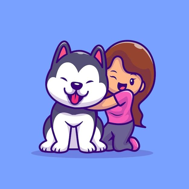 Linda garota com ilustração dos desenhos animados de cão husky. conceito de ícone de animais de pessoas Vetor Premium