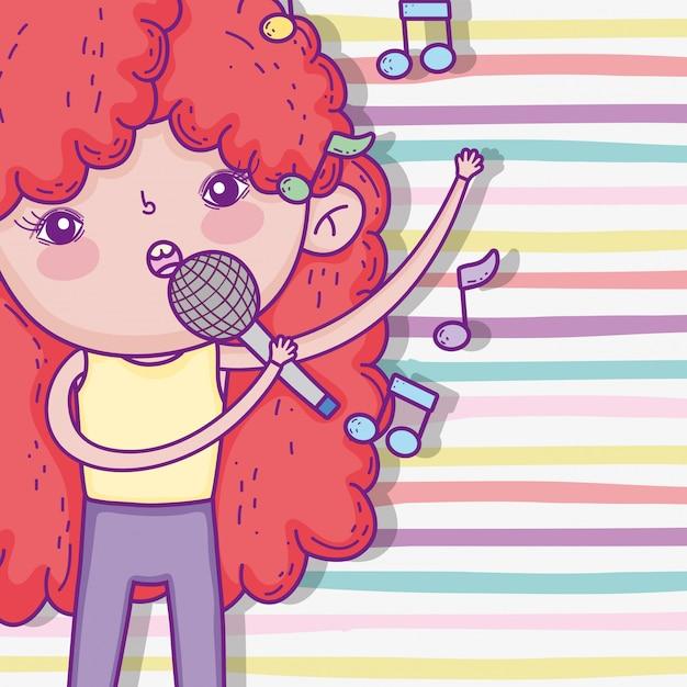Linda garota com penteado encaracolado e cantando música Vetor Premium