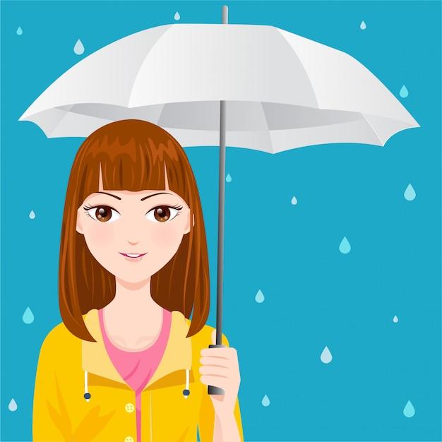 Linda garota com uma capa de chuva amarela Vetor Premium