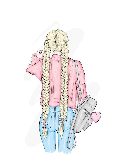 Linda garota com uma mochila elegante, em jeans. Vetor Premium