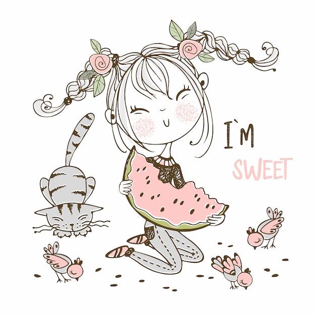 Linda garota comendo uma melancia suculenta, próximo gato e pássaros. estilo doodle. Vetor Premium