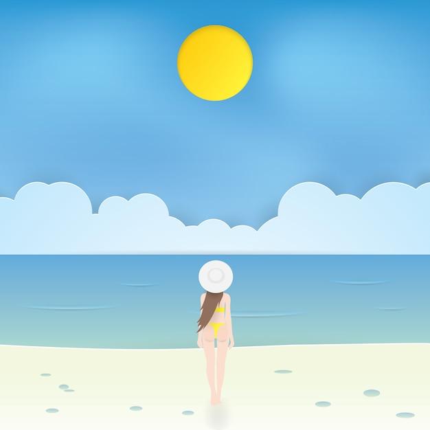 Linda garota de biquíni caminhando na praia, vetor de artesanato Vetor Premium