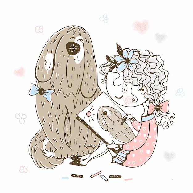 Linda garota desenha seu cachorro grande de estimação. Vetor Premium