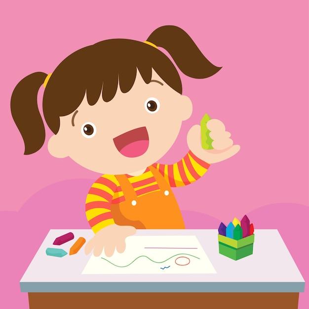 Linda garota desenhando com lápis coloridos Vetor Premium