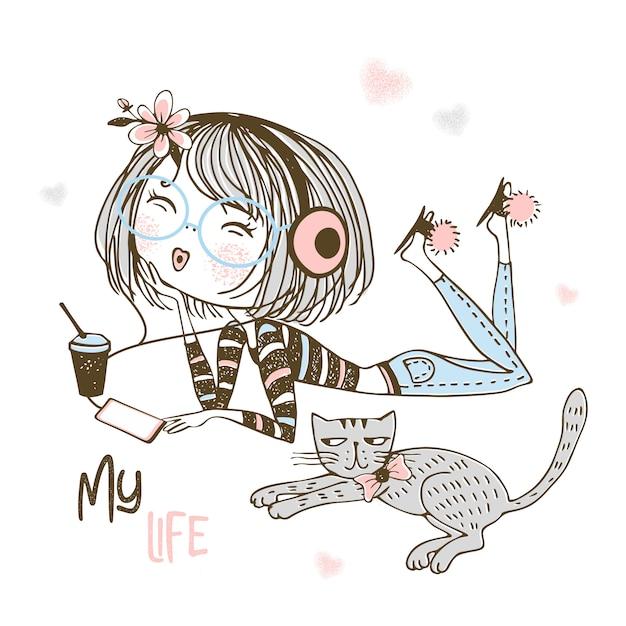 Linda garota em fones de ouvido, ouvindo música ao lado de um gato de estimação. Vetor Premium