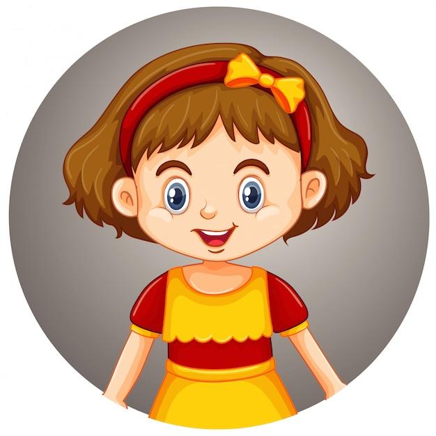Linda garota em fundo redondo Vetor grátis