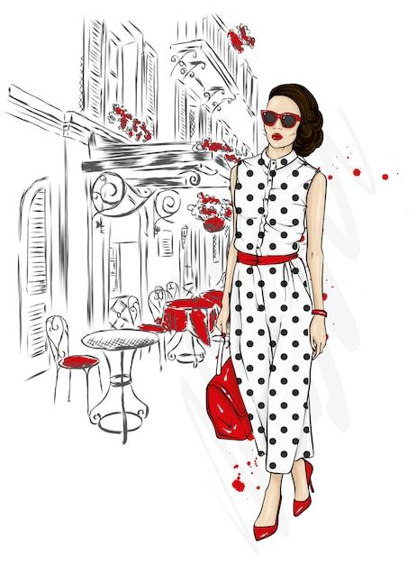 Linda garota em um elegante terno, sapatos, óculos e uma bolsa. estilo fashion. Vetor Premium