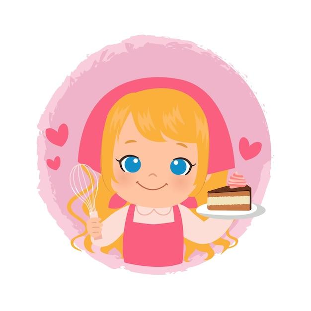 Linda garota fazendo um bolo de chocolate. logotipo de padaria chef feminino loira. design plano. Vetor Premium