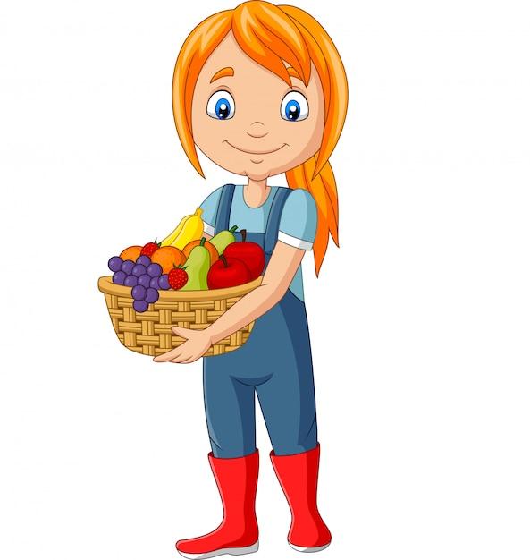 Linda garota feliz colheita de frutas Vetor Premium