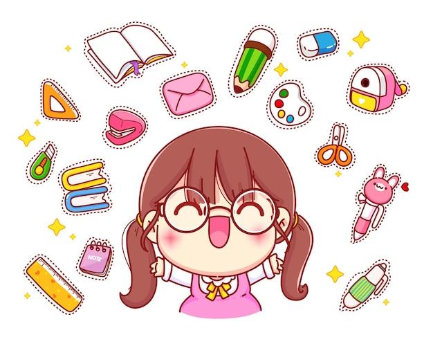 Linda garota feliz com ilustração de personagem de desenho animado de logotipo de papelaria Vetor grátis