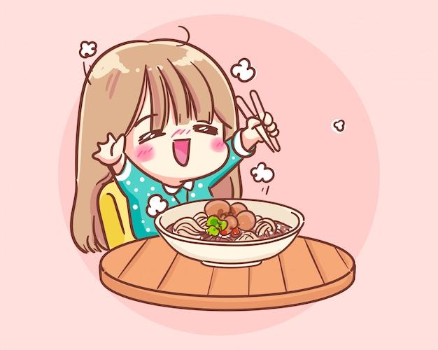 Linda garota feliz comendo macarrão cartoon art illustration premium vector Vetor Premium