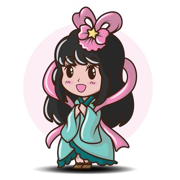 Linda garota japonesa em traje de princesa., personagem de desenho animado Vetor Premium