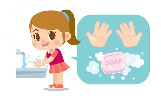 Linda garota lavar as mãos com o ícone de sabão e mãos Vetor Premium