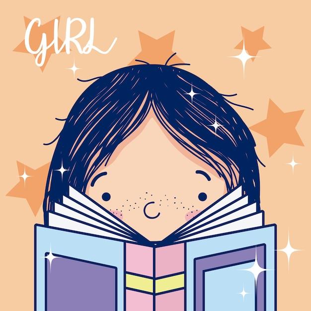 Linda Garota Lendo Um Livro Dos Desenhos Animados Com Estrelas