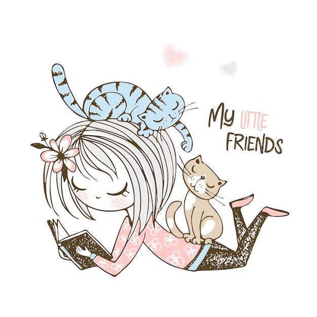 Linda garota lendo um livro na companhia de pequenos gatinhos. Vetor Premium