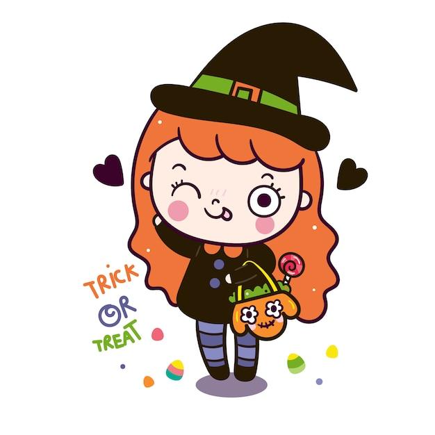 Linda garota mágica dos desenhos animados de halloween segurando o saco de abóbora Vetor Premium