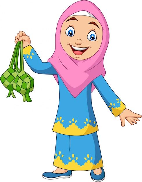 Linda garota muçulmana segurando um ketupat Vetor Premium