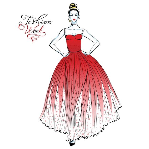 Linda garota na moda em um vestido longo vermelho com bolinhas padrão e inscrição na semana da moda Vetor Premium