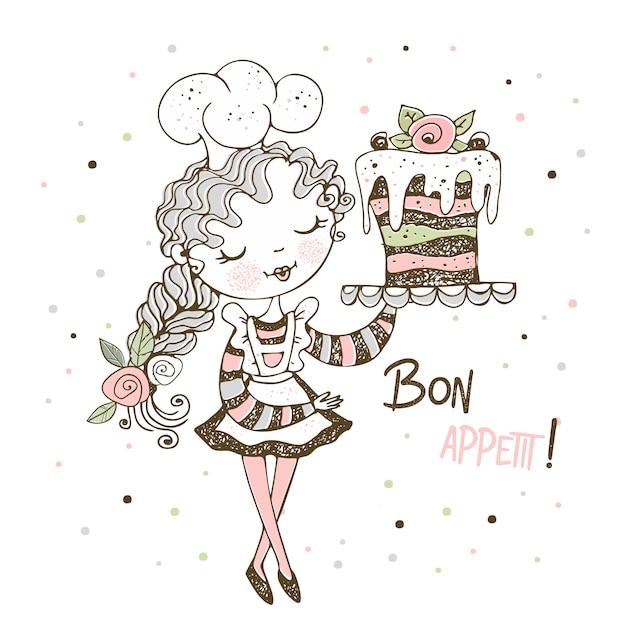 Linda garota pastelaria chef fazendo um bolo Vetor Premium