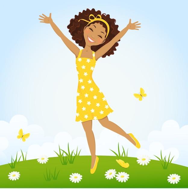 Linda garota pulando no prado primavera Vetor Premium