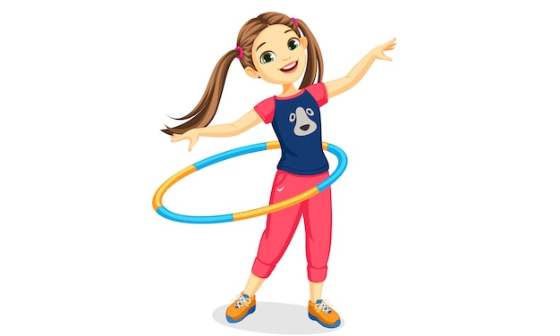 Linda garota tocando bambolê Vetor grátis