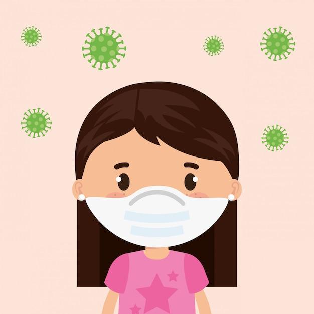 Linda garota usando máscara facial com partículas cobertas 19 ilustração design Vetor grátis