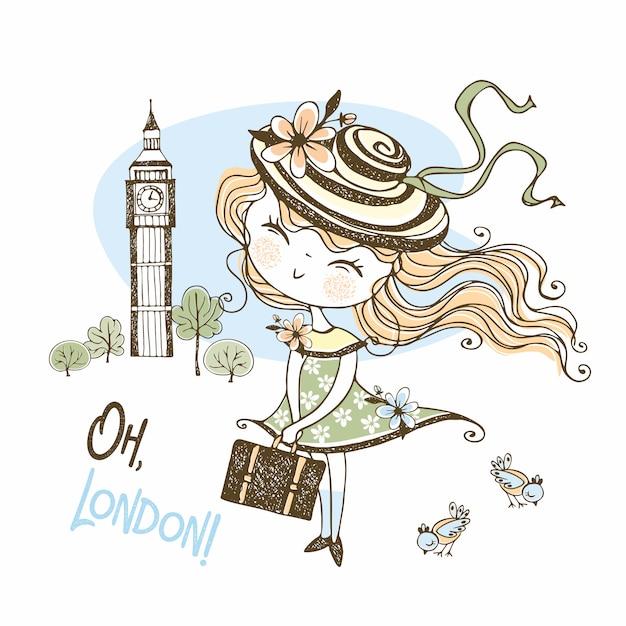 Linda garota usando um chapéu com uma mala em londres. viagem. Vetor Premium