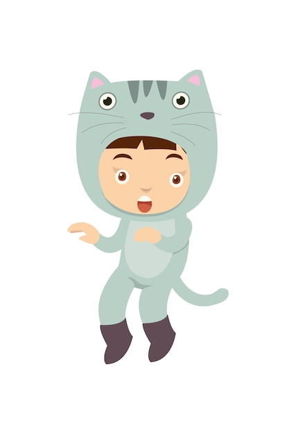 Linda garota vestindo fantasia de gato pose como gato Vetor Premium