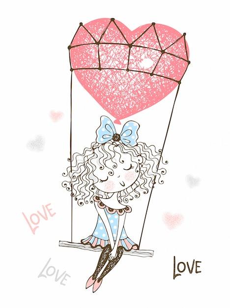 Linda garota voando em um balão em forma de um coração. namorados. Vetor Premium